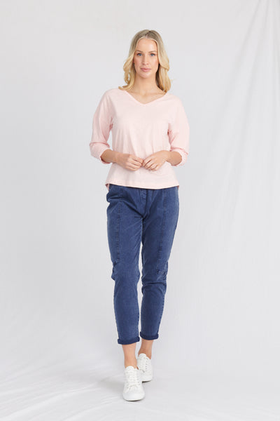 womans organic clothing top, worn with organic cotton jeans