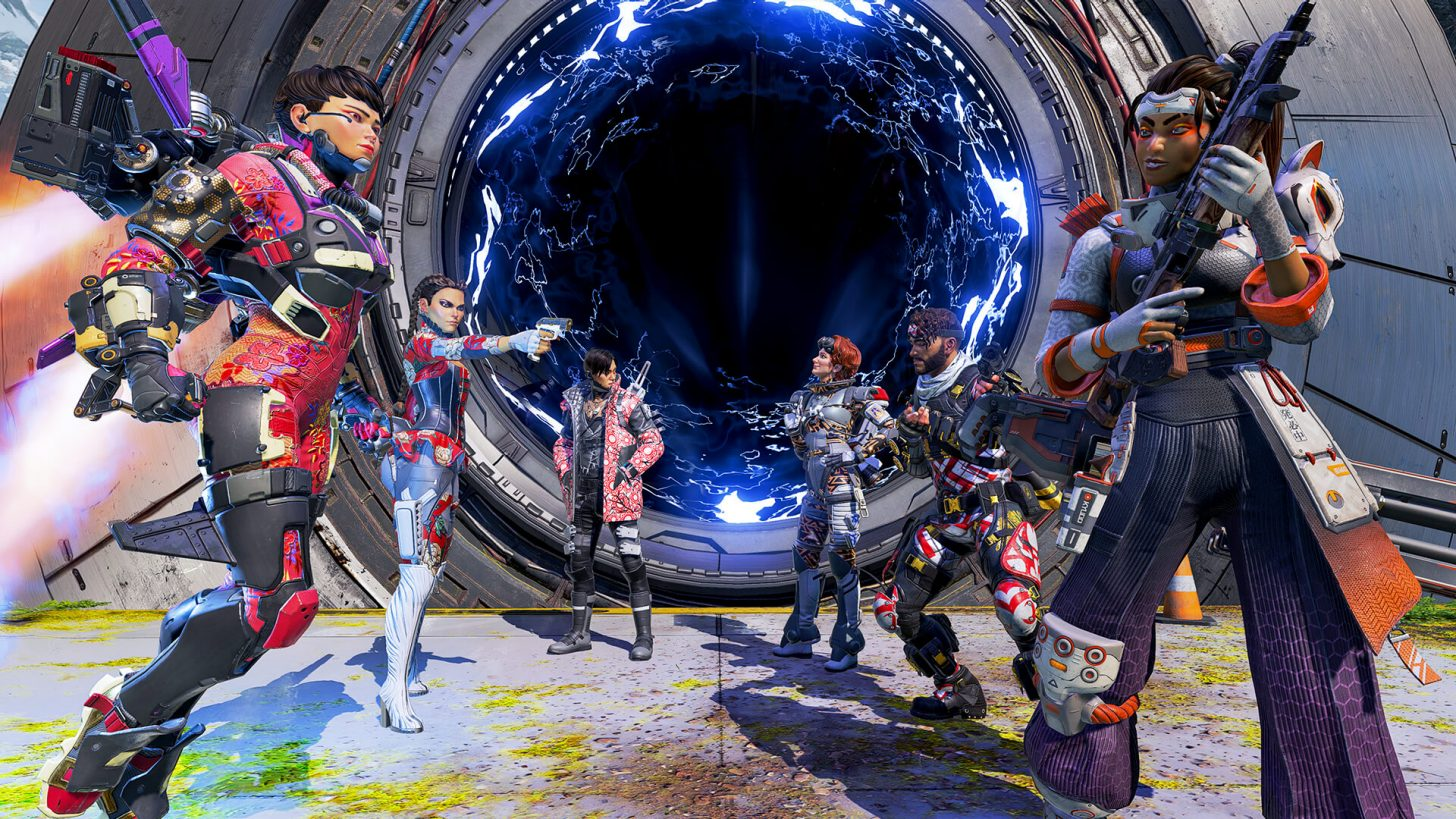 Six characters of different classes waiting to enter the arena