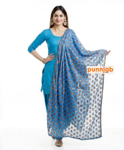 Load image into Gallery viewer, Blue Kanchan Dupatta - Punnjab Phulkari