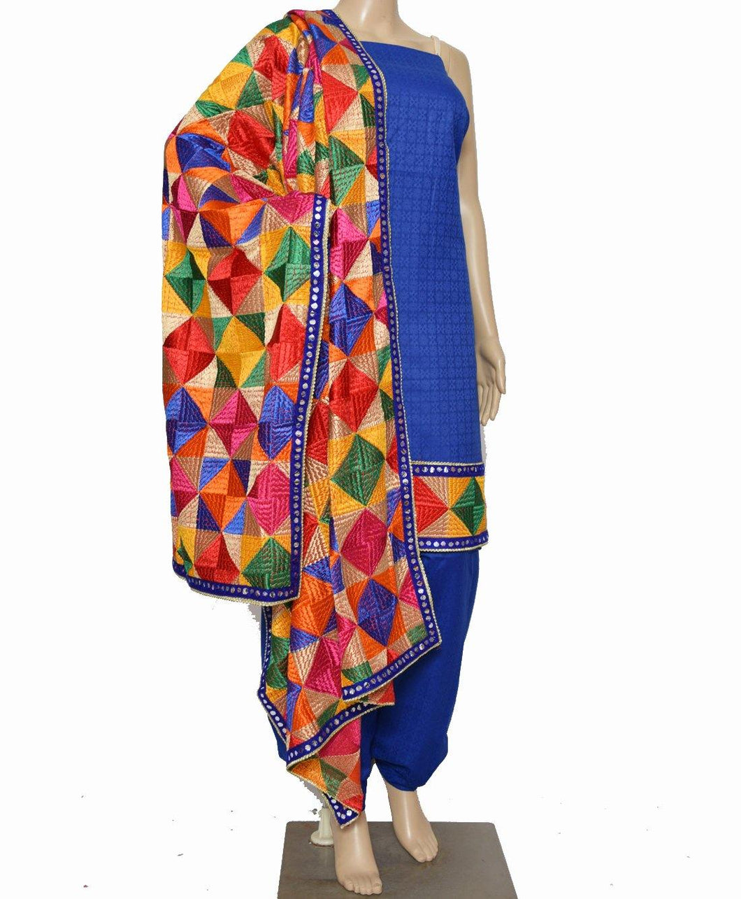 Royal Blue Designer Suit - Punnjab Phulkari