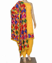 Load image into Gallery viewer, Yellow Designer Suit - Punnjab Phulkari