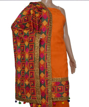 Load image into Gallery viewer, Orange Phulkari Suit - Punnjab Phulkari