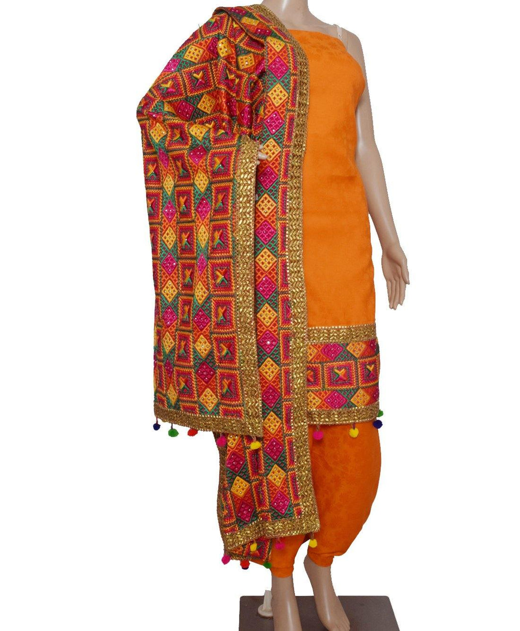 Orange Phulkari Suit - Punnjab Phulkari