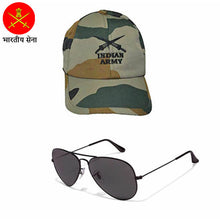 Load image into Gallery viewer, Indian Army Cap with FREE Aviator Sunglasses