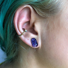 Load image into Gallery viewer, Purple Rectangle Sparkle Dichroic Glass Stud Earrings