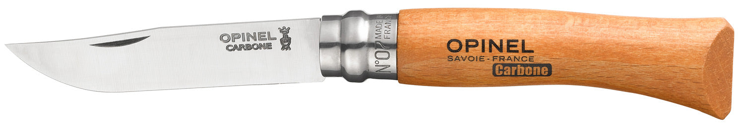 Opinel Tradition Knife, Beech handle, Carbon Steel, 8cm, #7