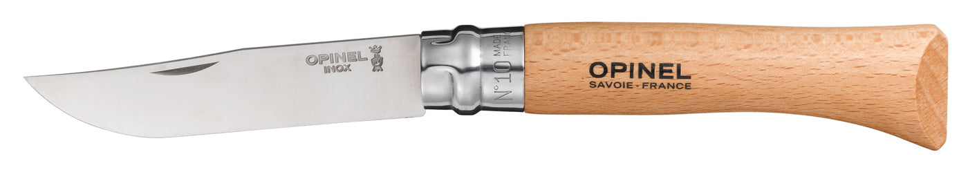 Opinel Tradition Knife, Beech handle, 10cm, Stainless #10
