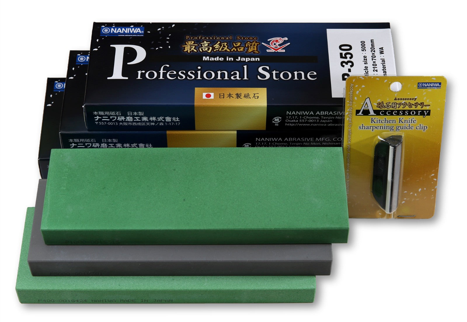 Naniwa Professional Japanese Sharpening Stones, Set of 3: 400, 1000, 5000; Save $10 + FREE Sharpening Guide Clip