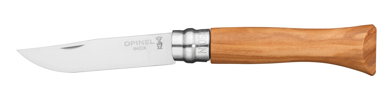 Opinel Tradition Knife, Olivewood handle, 7cm, Stainless, #6