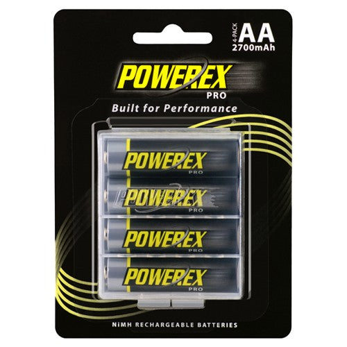 Maha PowerEX Pro AA 2700 mAh NiMH Rechargeable Low-Discharge Batteries, 4-pack, with case, MHRAA4PRO