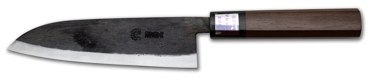 "Moritaka Deluxe Santoku, 170mm (6.7""), Aogami/Blue #2 Carbon Steel, Octagonal Walnut Handle"