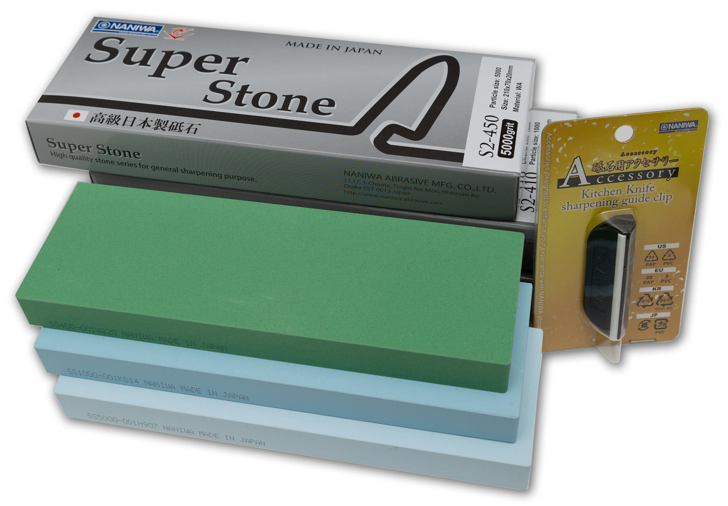 Naniwa Super-Stone Japanese Sharpening Stones, Set of 3: 400, 1000, 5000, FREE Sharpening Guide Clip