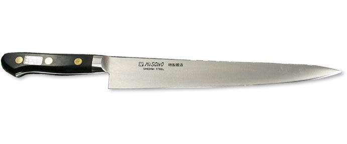 Misono Swedish Carbon Steel Slicer (Sujihiki), 9.5-inch (240mm) - #121