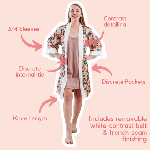 Short Robe in Pink Lotus with discrete pockets internal tie and french-seams
