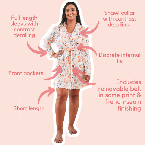 Pastel Paisely Short Robe with pockets belt and french seam finishings
