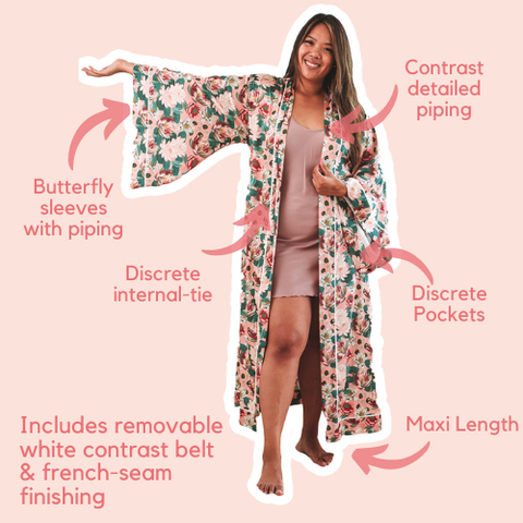Maxi Robe with butterfly sleeve piping, pockets and french seam finishings