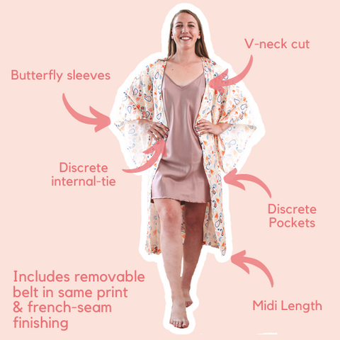 Pastel Paisely Yellow Midi Robe with butterfly sleeves, piping, pockets and french seam finishing