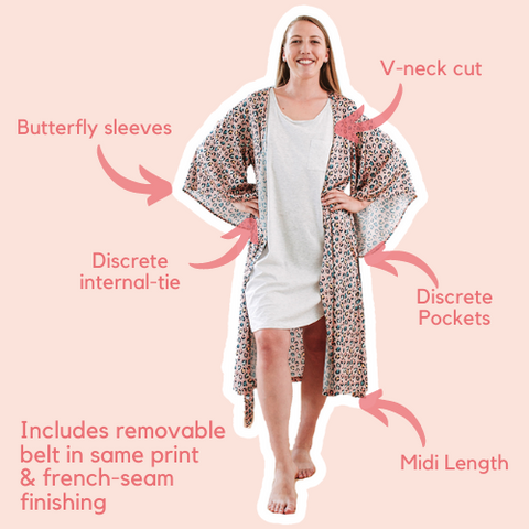 Animal Leopard Print Pastel Midi Robe with pockets, pipping, belt and french seam finishing