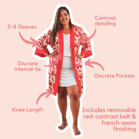 Red floral kimono style short robe with belt, pockets, piping and french seam finishing