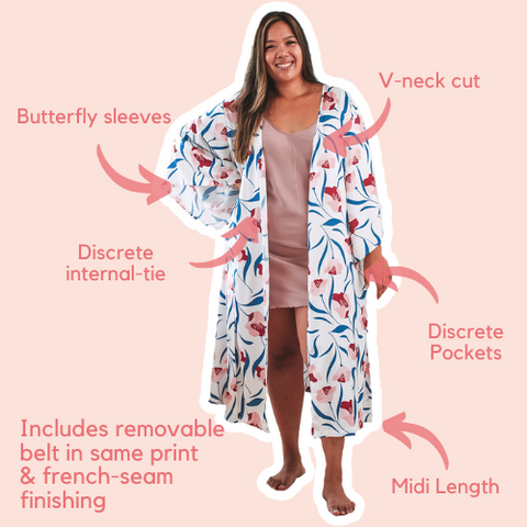Pink Magnolia Midi Robe V-neck with butterfly sleeves, pockets and french seam finishings