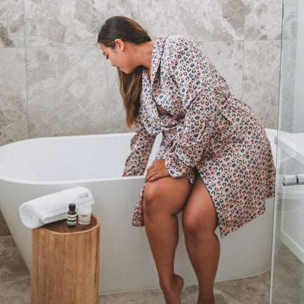 Getting ready for bath in Bia Short Robe PAstel Leopard
