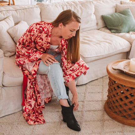 Getting ready to go out in Maia Red Maxi Robe