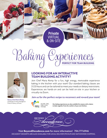 Private Virtual or On-Site Baking Experiences flyer