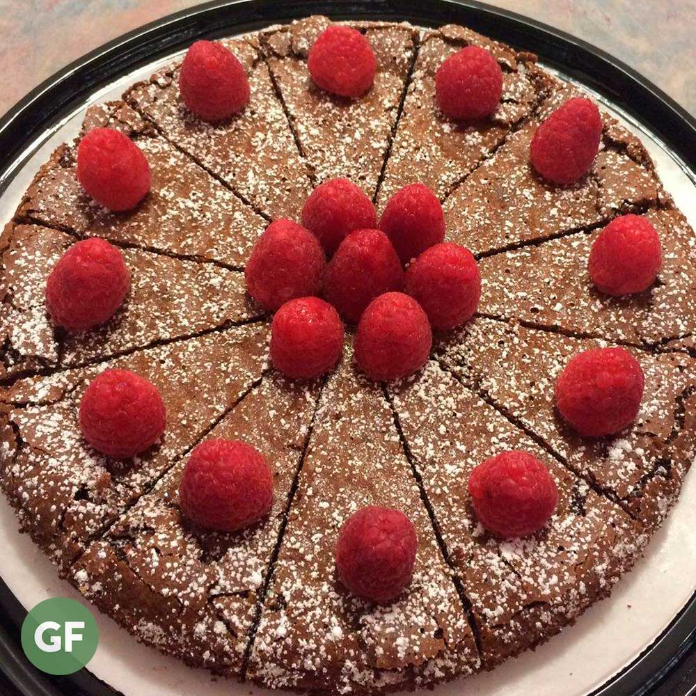Chocolate almond cake with raspberries on top