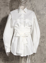 Load image into Gallery viewer, White Wrapped Waist Blouse