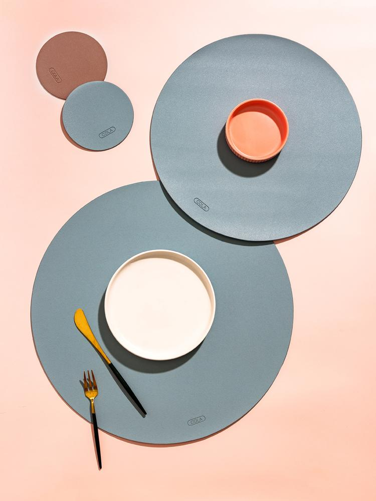Morandi nano Leather Coasters And Placemats For Dinner Table