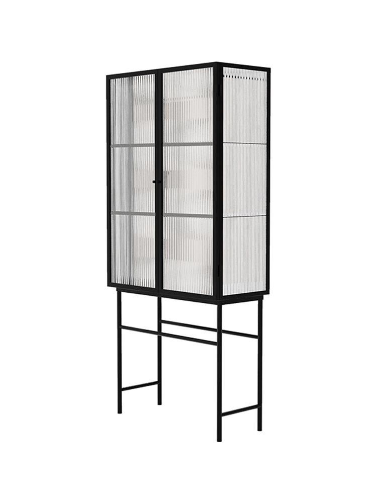 Living Room Against Wall Glass Cabinet