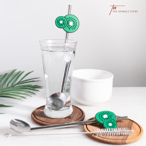 2 in 1 Spoon + Straw with Cleaner - Kiwi