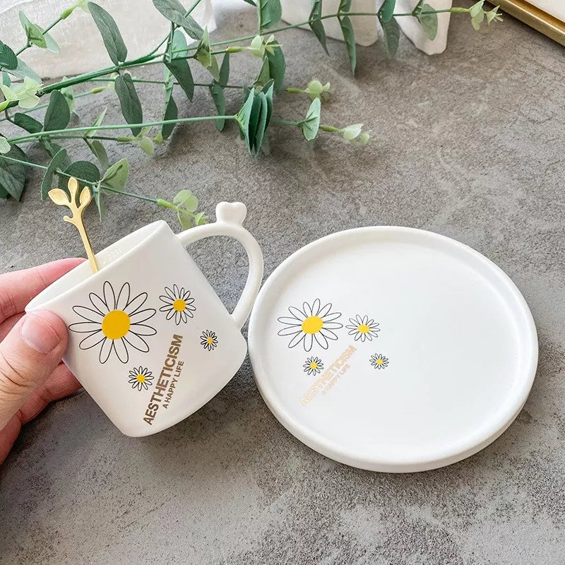 Daisy Mug & Saucer Set With Spoon