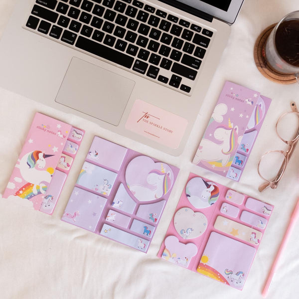 Sticky Notes + Bookmark Set - Cute Unicorn