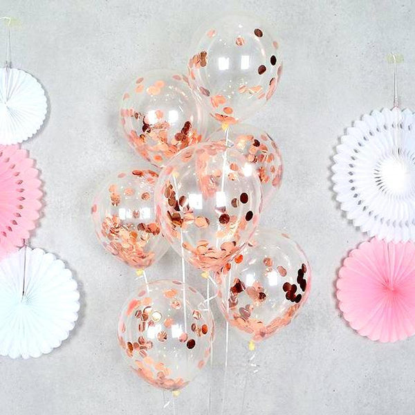 Rose Gold Confetti Balloons - Set of 5