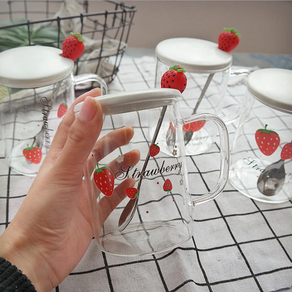 Strawberry Mug with Lid and Spoon