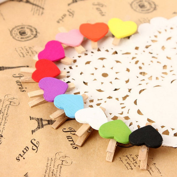 Wooden Clip - Set of 10 - Multicolour Heart