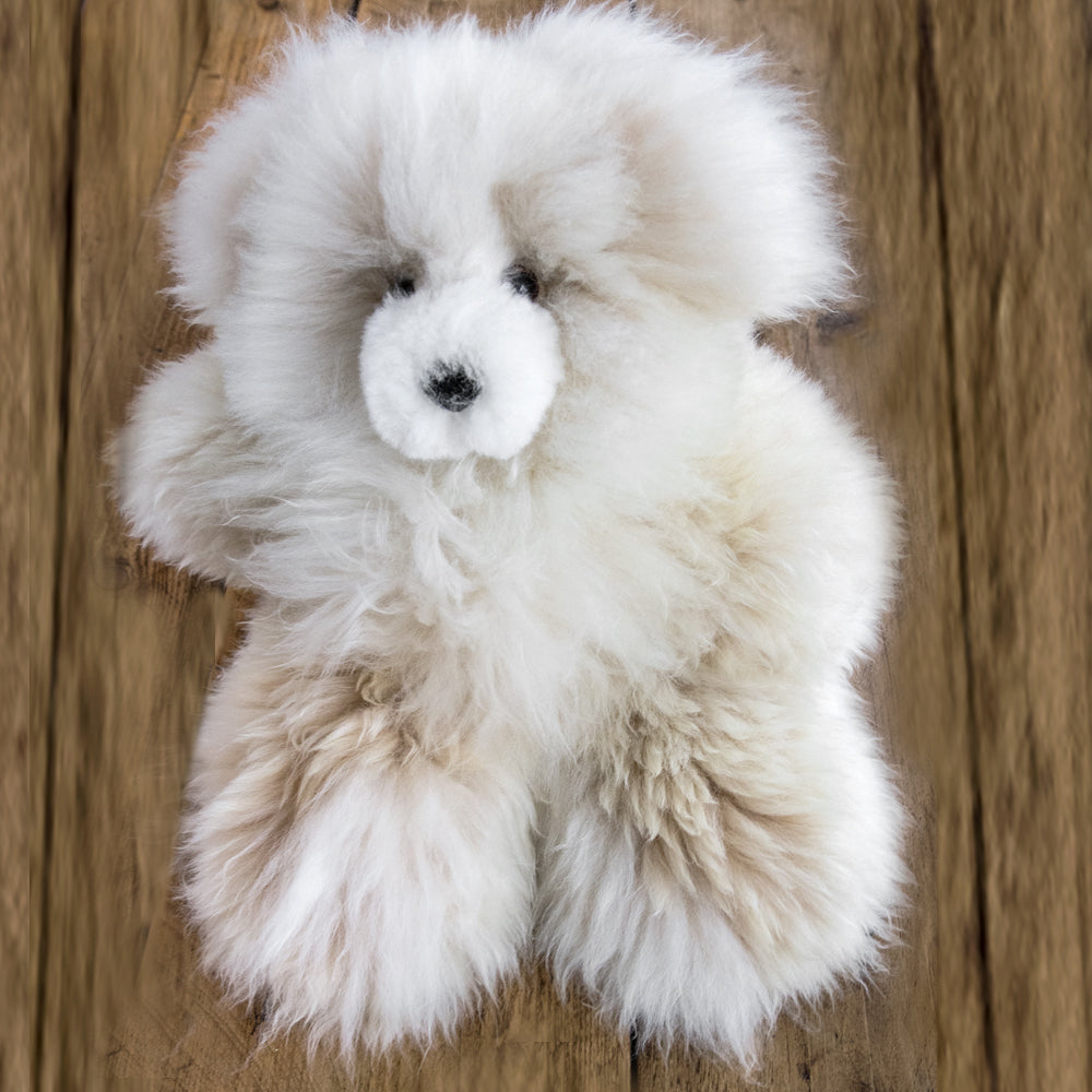 Medium White Alpaca Fur Toy Bear, 'Hug of love'