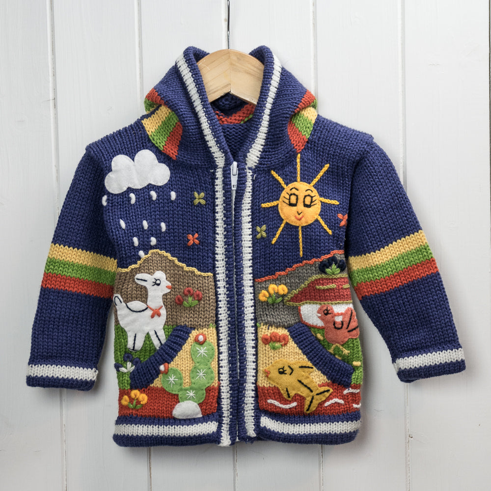 Colourful Blue Children's Cardigan, 'Peruvian Fairy Tales'
