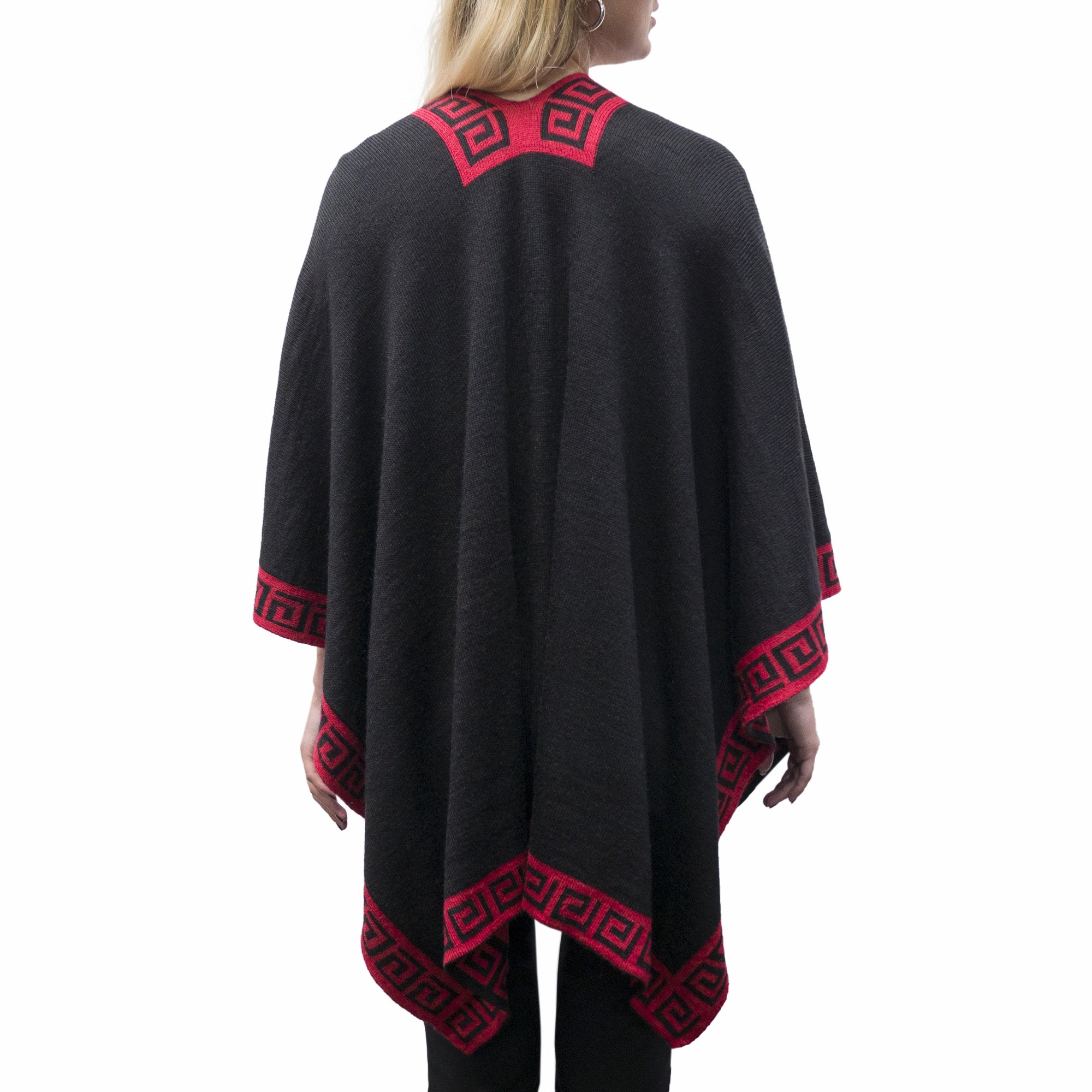 Black and Red Beautiful Reversible Handmade Women's Luxury Shawl