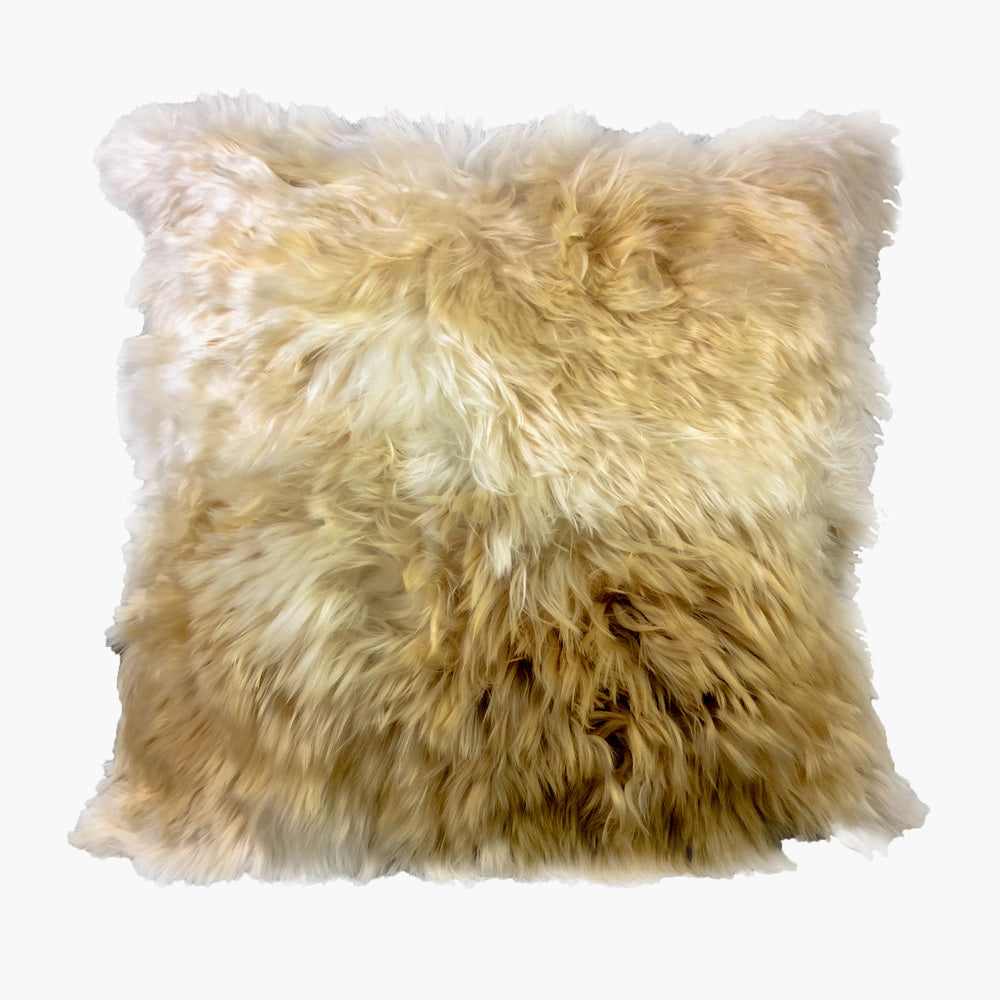 Light Brown Alpaca Fur Cushion, 'Andean Soft'