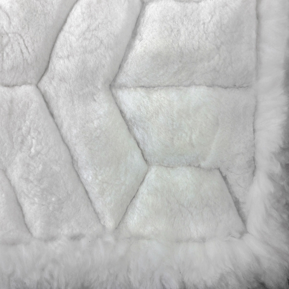 210cm x 180cm White Alpaca Fur Rug, 'Winter Snow'