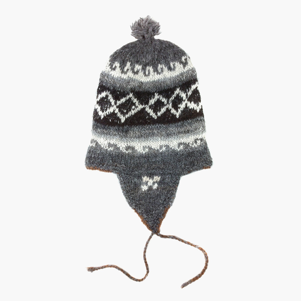 Alpaca Wool Hand Knitted Peruvian Hat, 'Andean Chullo'