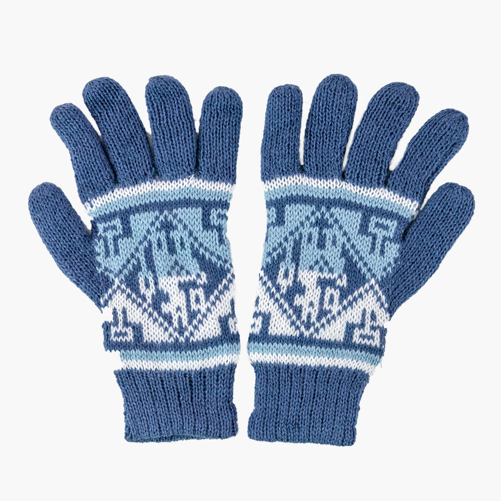 Blue Alpaca Blend Knit Gloves