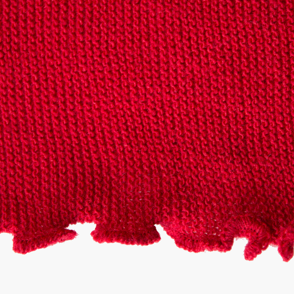 Red Alpaca Knitted Shawl, 'Hug of Love'