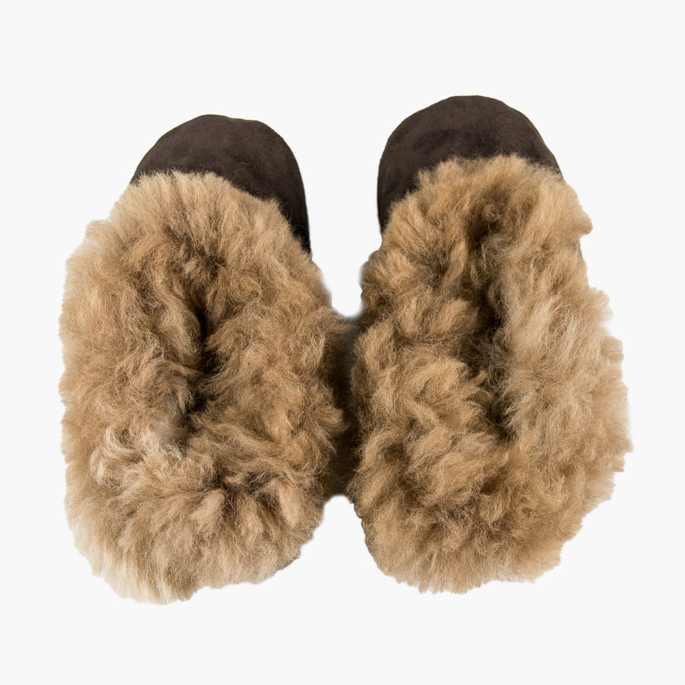 Adults' Alpaca Fur Slippers, 'Warm Way', With Brown Fur