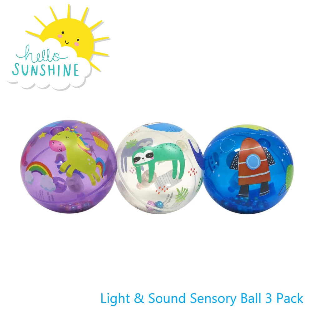 Hello Sunshine Light & Sound Sensory Ball 3 pk www.giftplayground.com.au