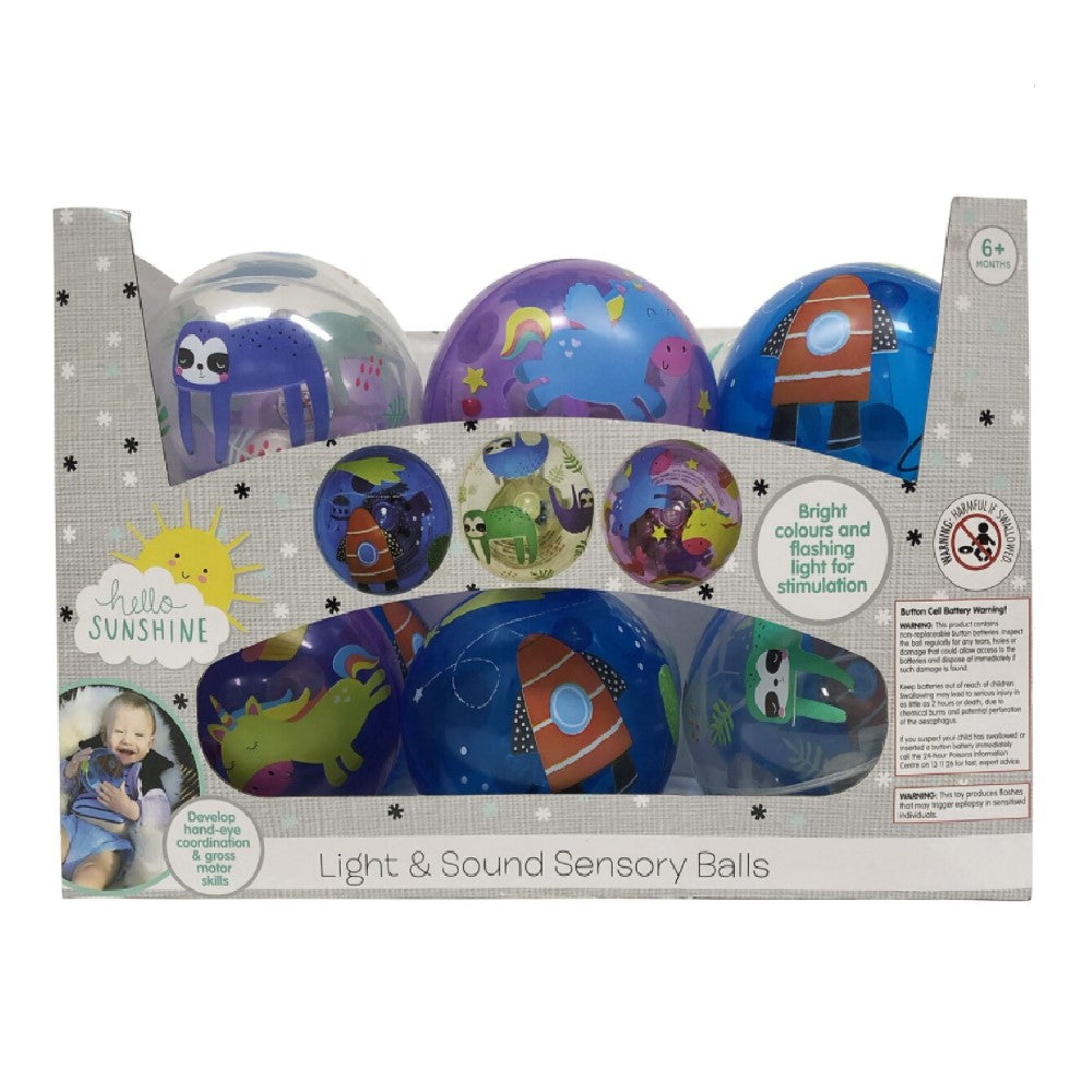 Hello Sunshine Light & Sound Sensory Ball 3pk www.giftplayground.com.au