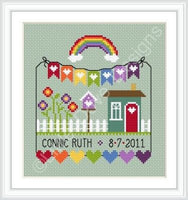 LilDD37<BR>Rainbow Birth Sampler