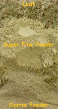 Load image into Gallery viewer, Comparison photo of kratom leaf, coarse ground powder and super fine powder